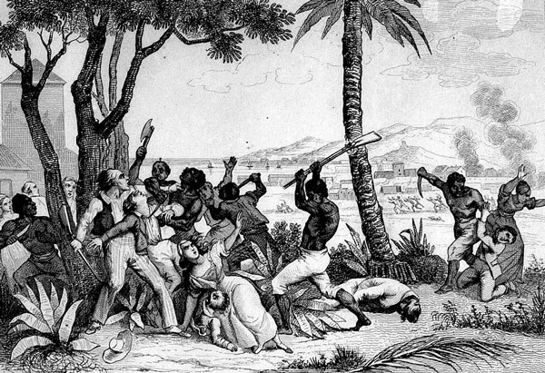 Drawing of blacks killing whites during the Haitian revolution.